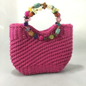 Cappelli Straworld Beaded Handle Pink Paper Tote